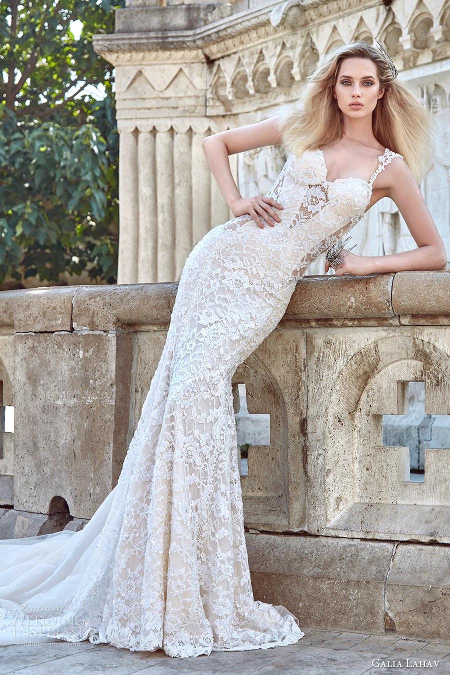 galia lahav fall 2016 bridal sleeveless lace strap sweetheart sheath lace wedding dress (aurora) mv sexy glam train