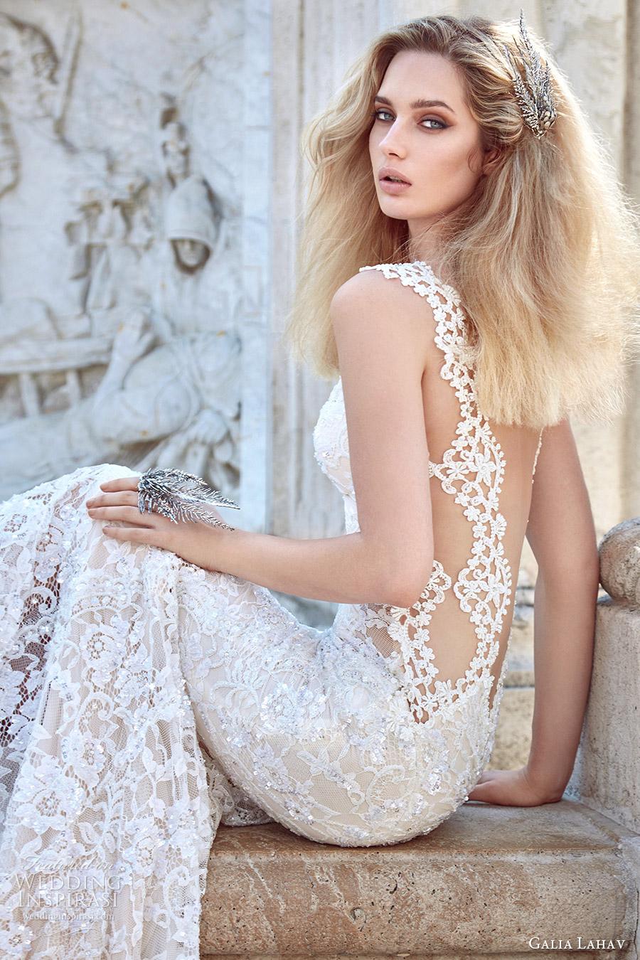 galia lahav fall 2016 bridal sleeveless lace strap sweetheart sheath lace wedding dress (aurora) zv sexy glam train