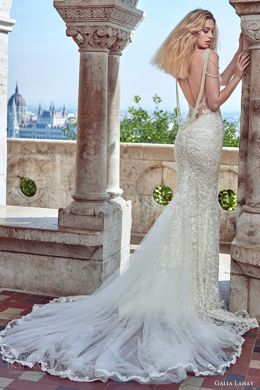 galia lahav fall 2016 bridal sleeveless pearl straps sweetheart illusion bodice sheath lace wedding dress (delphine) bv sexy glam medium train