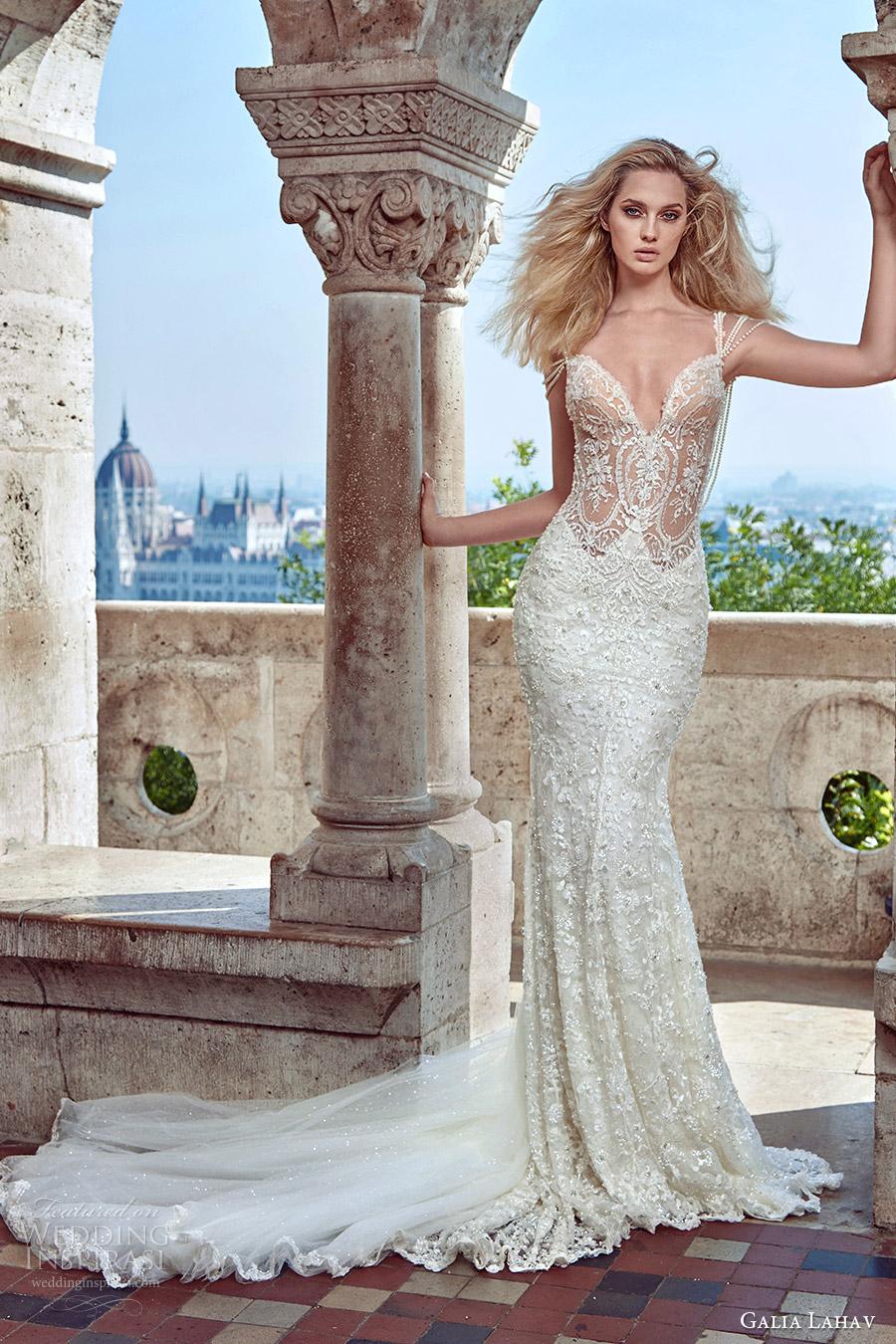 galia lahav fall 2016 bridal sleeveless pearl straps sweetheart illusion bodice sheath lace wedding dress (delphine) mv sexy glam medium train