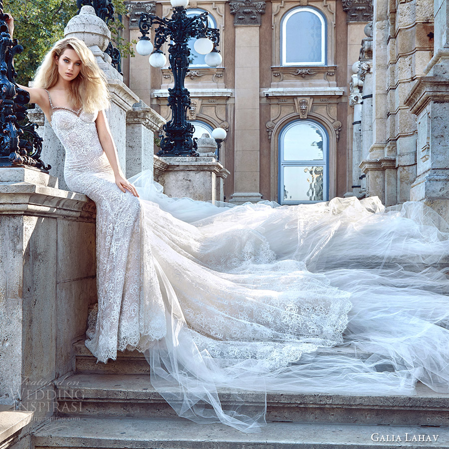 galia lahav fall 2016 bridal sleeveless thin straps sweetheart sheath lace wedding dress (elizabeth) mv long train