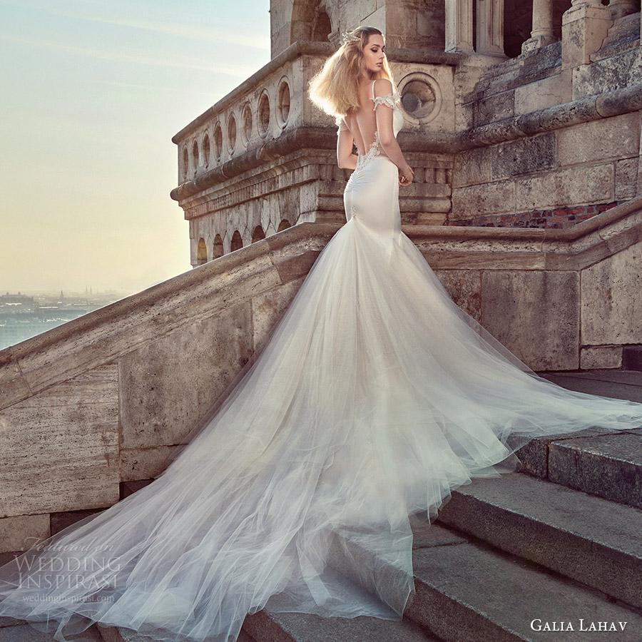 galia lahav fall 2016 bridal thin straps sweetheart mermaid wedding dress godet skirt (diana) bv open back glam sexy long train