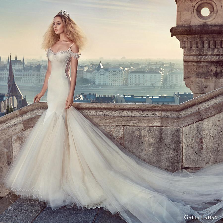 galia lahav fall 2016 bridal thin straps sweetheart mermaid wedding dress godet skirt (diana) mv glam sexy long train