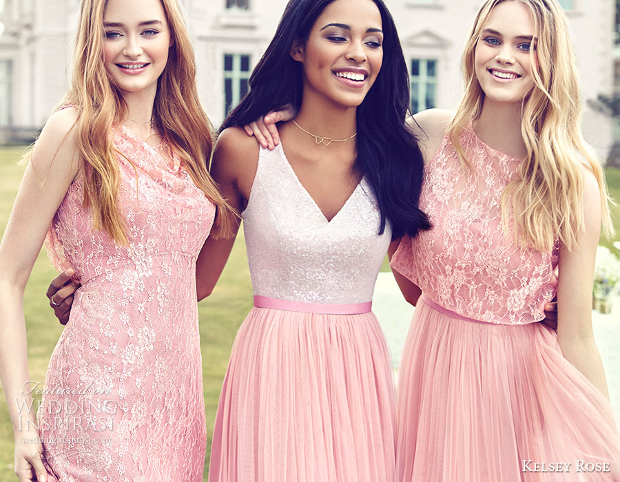 Kelsey Rose Bridesmaids 2016 Mix Match Mismatched Lace Bridesmaid Dresses Blush Pink Wedding Party