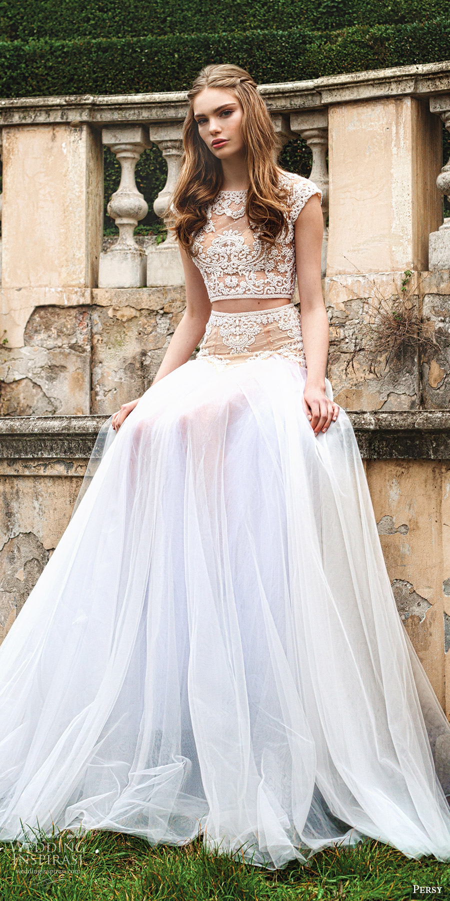 Persy 2016 le jardin wedding dresses exclusive first for Crop top wedding dress