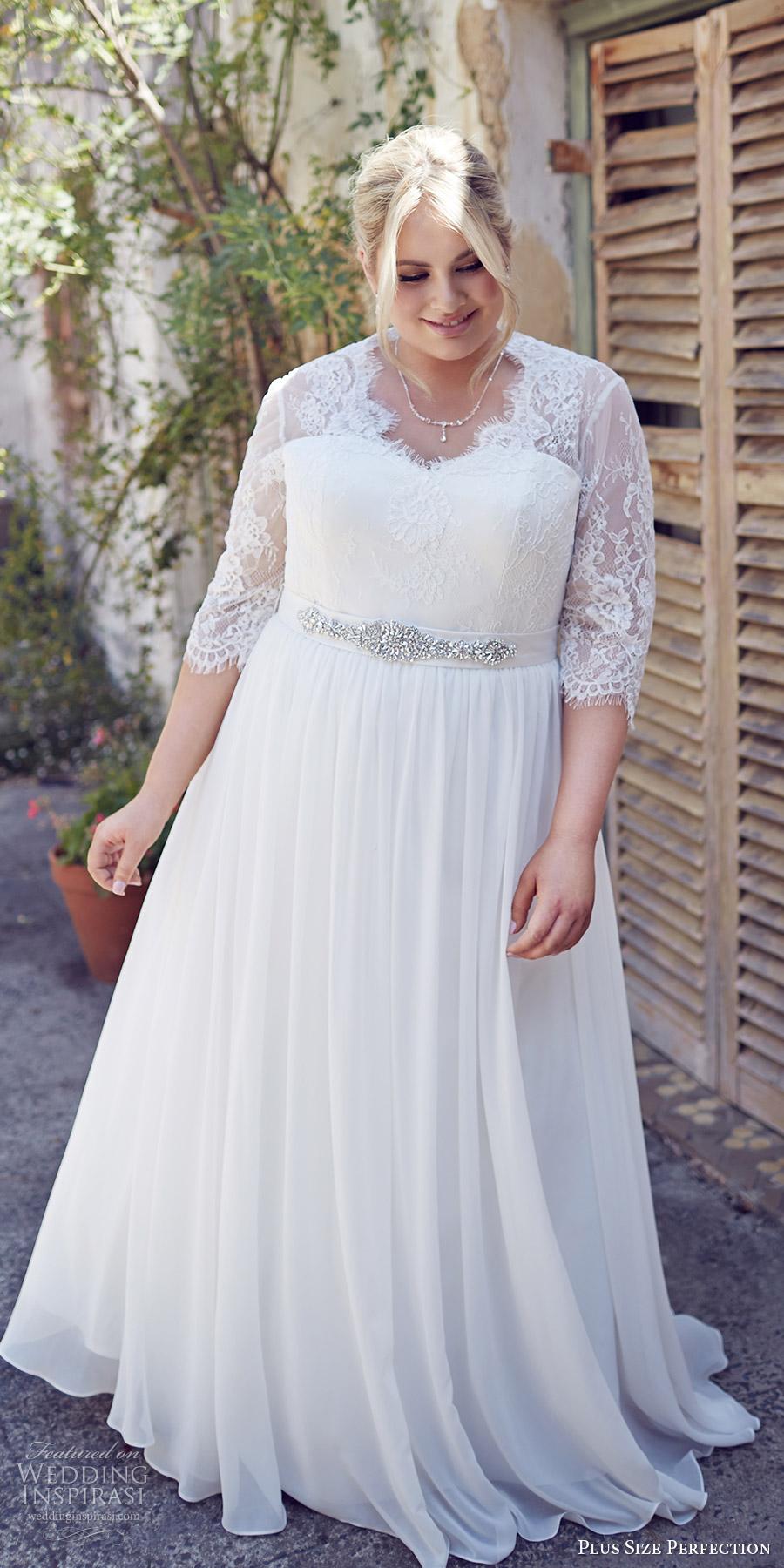 plus size perfection bridal 2016 3 quarter sleeves sweetheart illusion v neck lace bodice a line wedding dress (elegance) mv romantic elegant