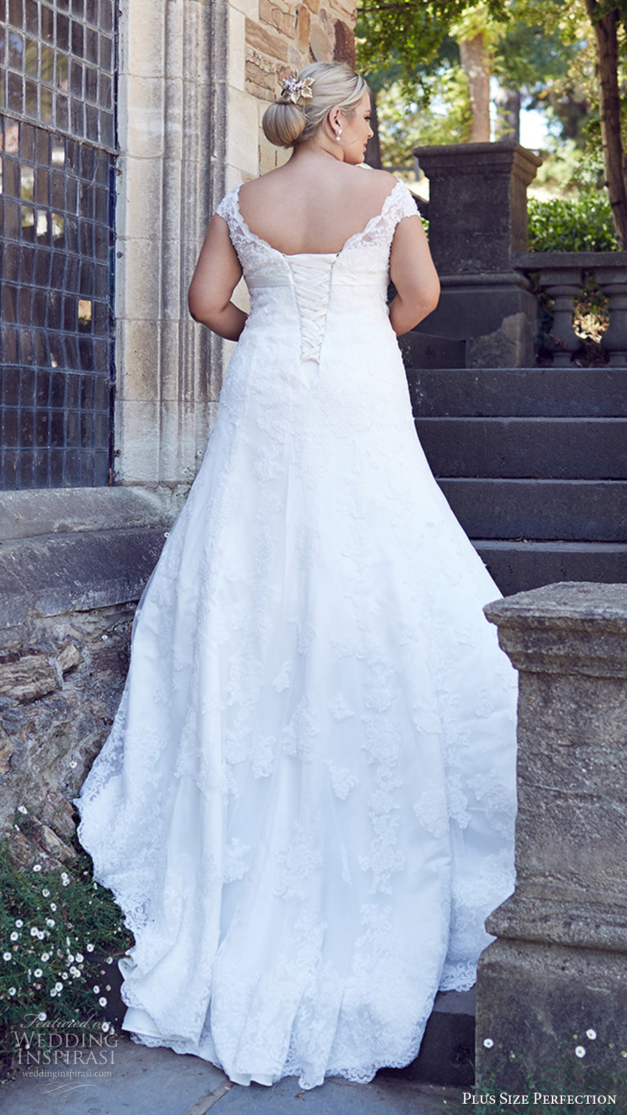 plus size perfection bridal 2016 cap sleeve off shoulder trumpet lace wedding dress (bridget) bv corset back train romantic elegant