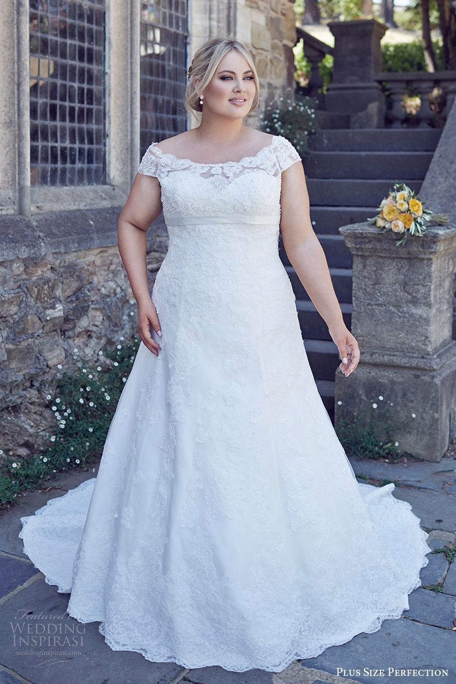 Plus Size Perfection Bridal 2016 Cap Sleeve Off Shoulder Trumpet Lace Wedding Dress Bridget
