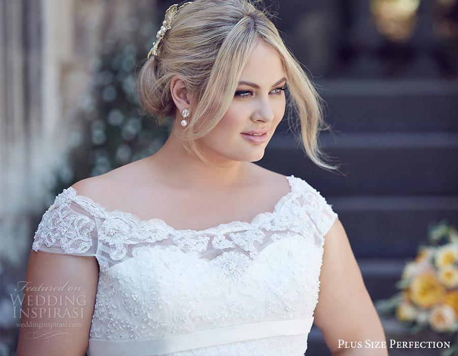 plus size perfection bridal 2016 cap sleeve off shoulder trumpet lace wedding dress (bridget) zv romantic elegant