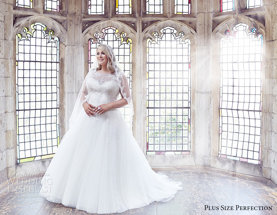 plus size perfection bridal 2016 cap sleeve sweetheart illusion jewel neck a line ball gown wedding dress (anastasia) mv romantic elegant