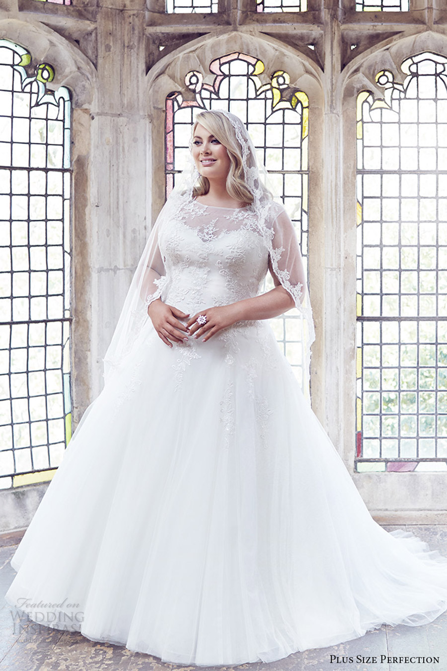 plus size perfection bridal 2016 cap sleeve sweetheart illusion jewel neck a line ball gown wedding dress (anastasia) zv romantic elegant