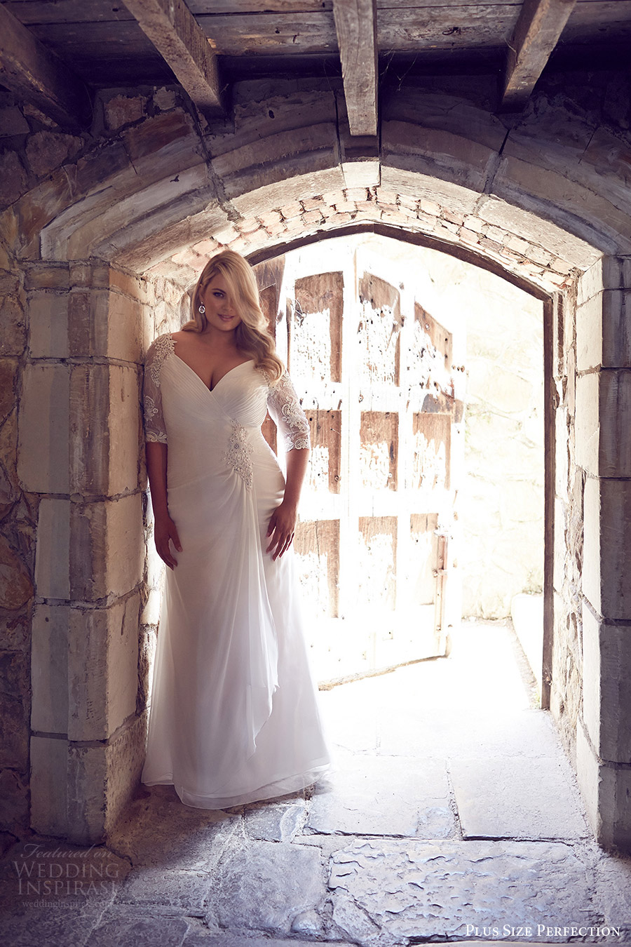 plus size perfection bridal 2016 illusion 3 quarter sleeves vneck draped skirt ruched bodice a line wedding dress (odessa) mv romantic elegant
