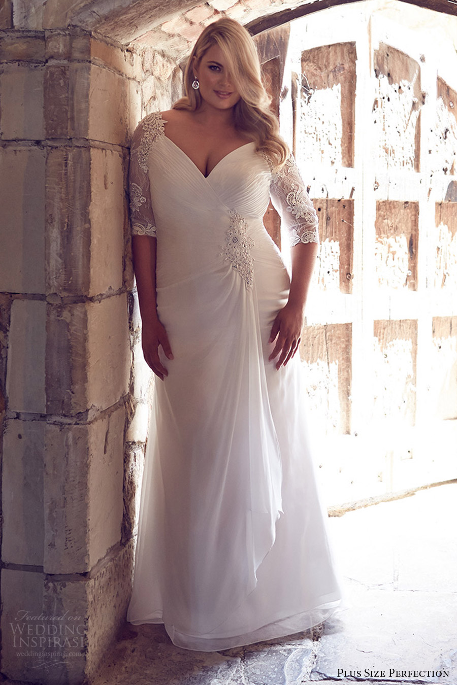 plus size perfection bridal 2016 illusion 3 quarter sleeves vneck draped skirt ruched bodice a line wedding dress (odessa) zv romantic elegant