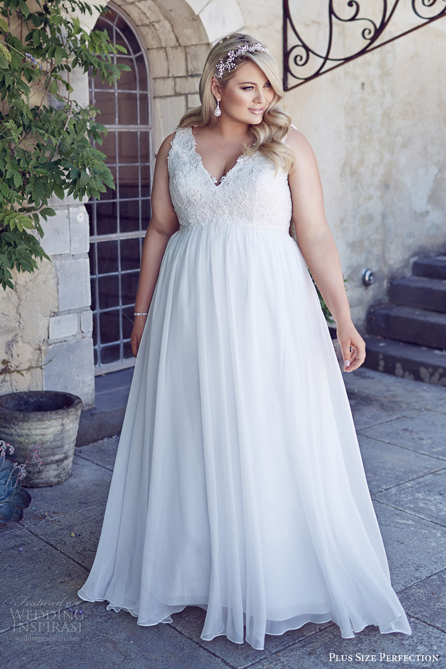 Plus size perfection wedding dresses it s a love story for Empire waist plus size wedding dress
