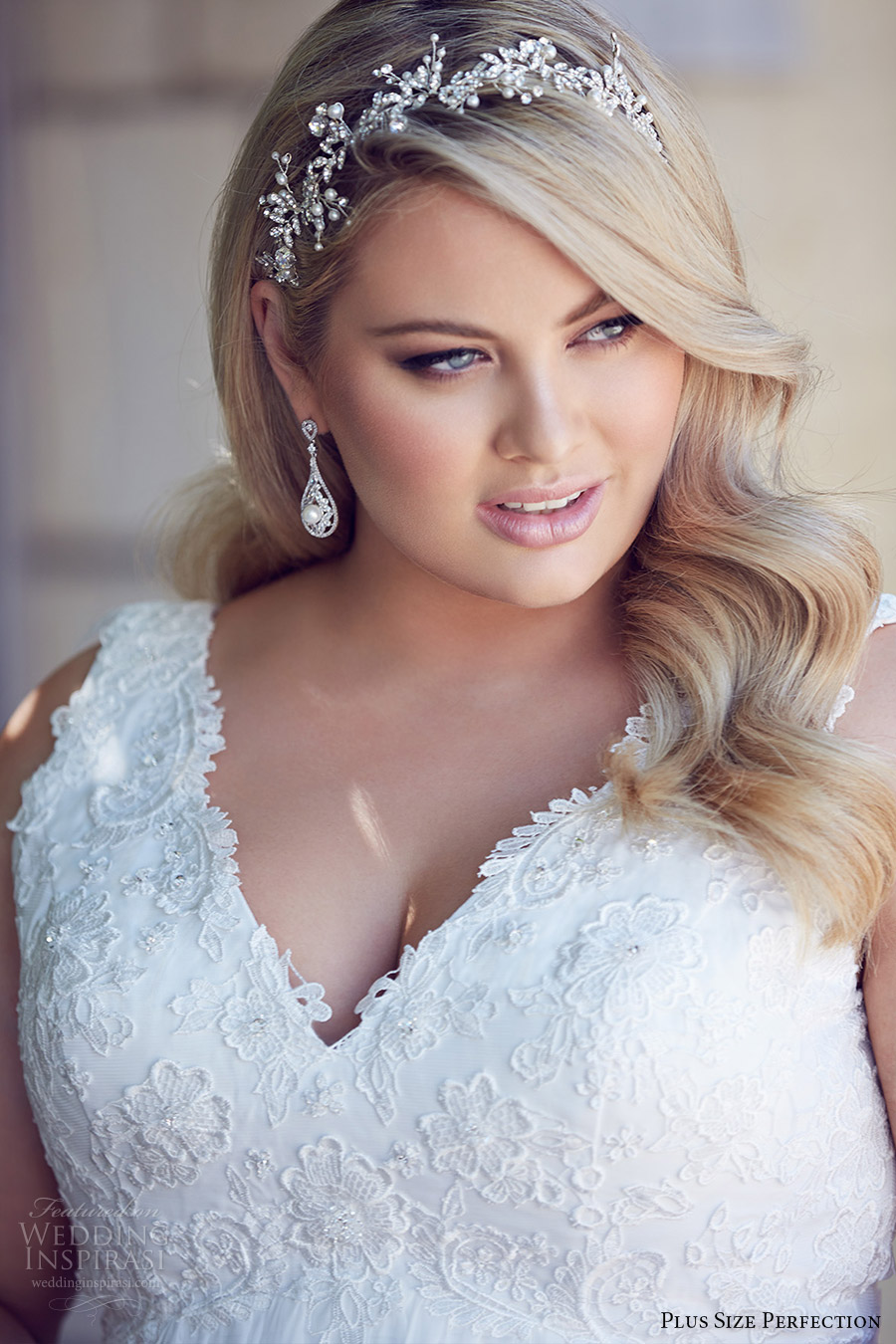 plus size perfection bridal 2016 sleeveles thick straps vneck empire waist lace bodice wedding dress (andrea) zv romantic elegant