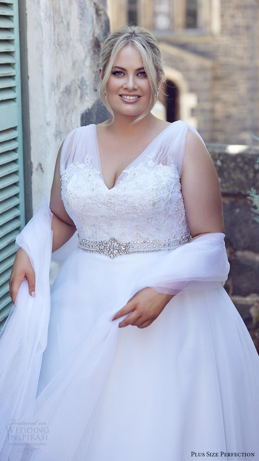 plus size perfection bridal 2016 sleeveles thick straps vneck lace bodice a line wedding dress (felicity) zv romantic elegant wrap