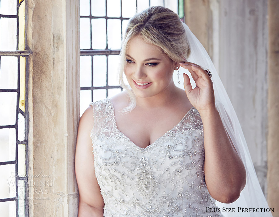 plus size perfection bridal 2016 sleeveless thick straps embellished bodice a line ball gown wedding dress (gwyneth) zv romantic elegant