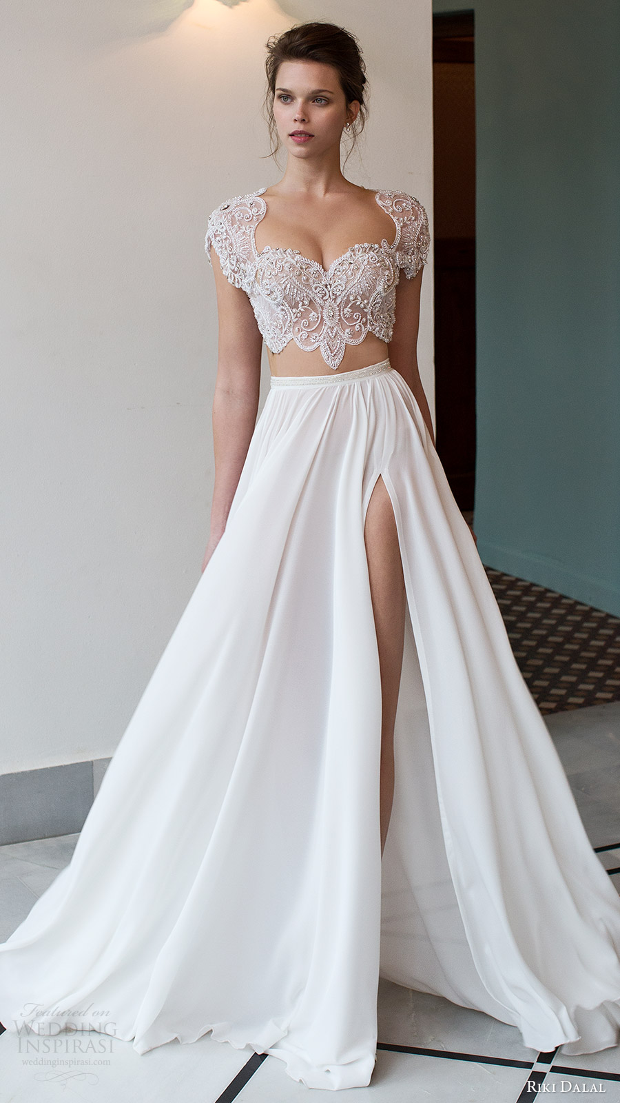 Riki dalal 2016 wedding dresses verona bridal for Crop top wedding dress