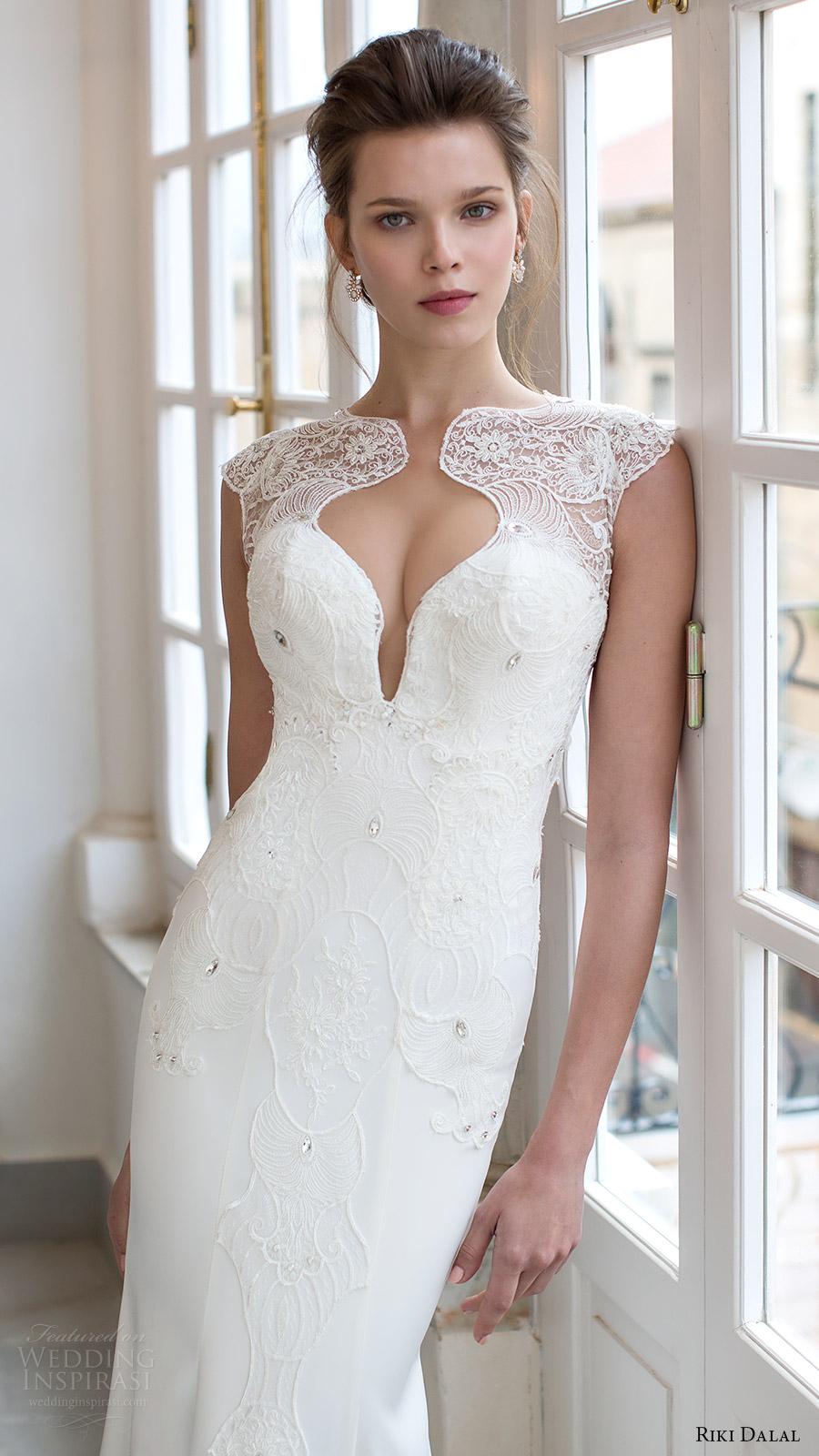 riki dalal bridal 2016 cap sleeves sweetheart illusion jewel sheath trumpet lace bodice wedding dress (1801) zv elegant