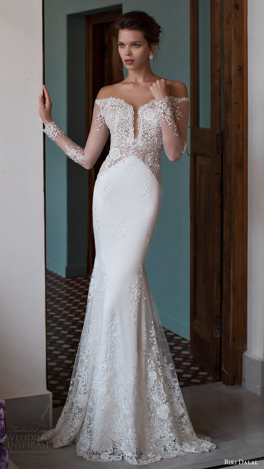 riki dalal bridal 2016 illusion long sleeves off shoulder pluging sweetheart lace sheath wedding dress (1810) mv elegant pretty romantic