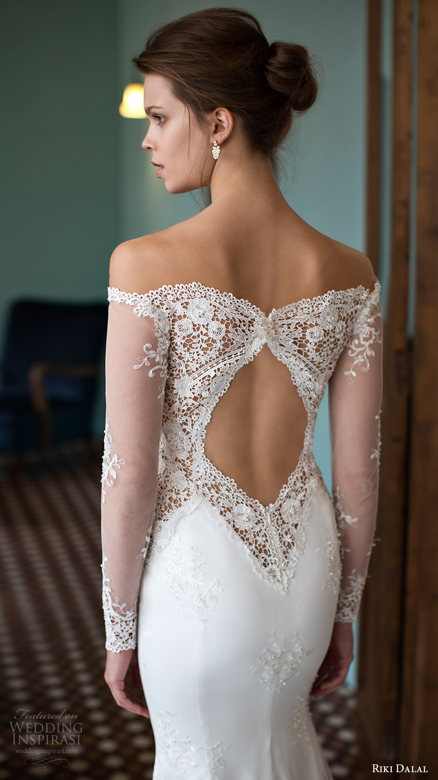riki dalal bridal 2016 illusion long sleeves off shoulder pluging sweetheart lace sheath wedding dress (1810) zv elegant pretty romantic keyhole
