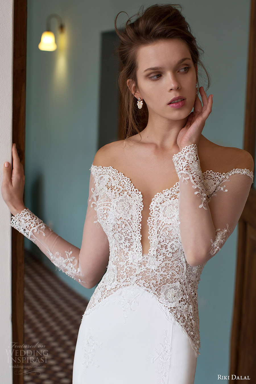 riki dalal bridal 2016 illusion long sleeves off shoulder pluging sweetheart lace sheath wedding dress (1810) zv elegant pretty romantic