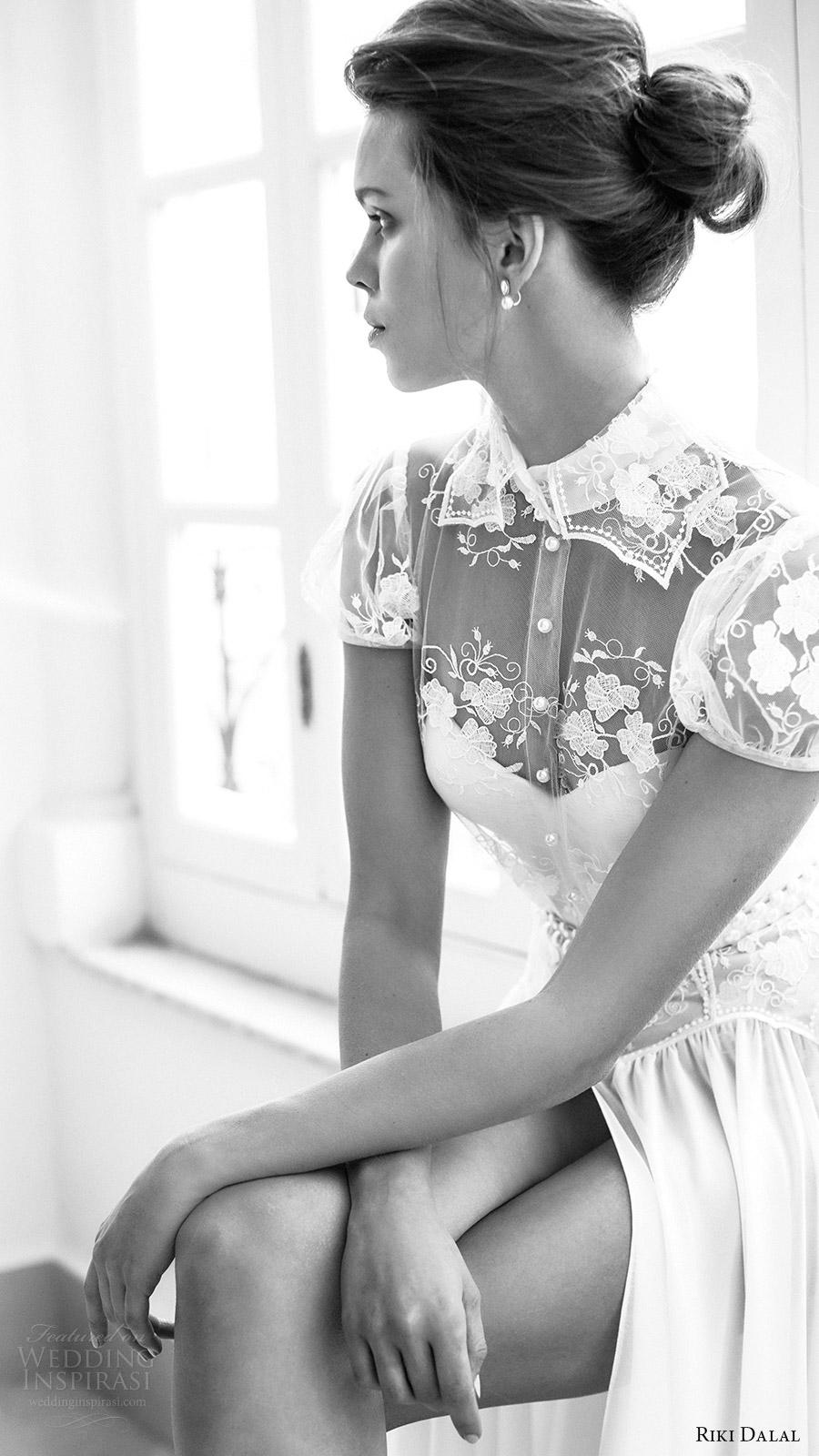 riki dalal bridal 2016 short puff sleeves sweetheart illusion collar shirt bodice a line wedding dress (1802) zv romantic slit skirt
