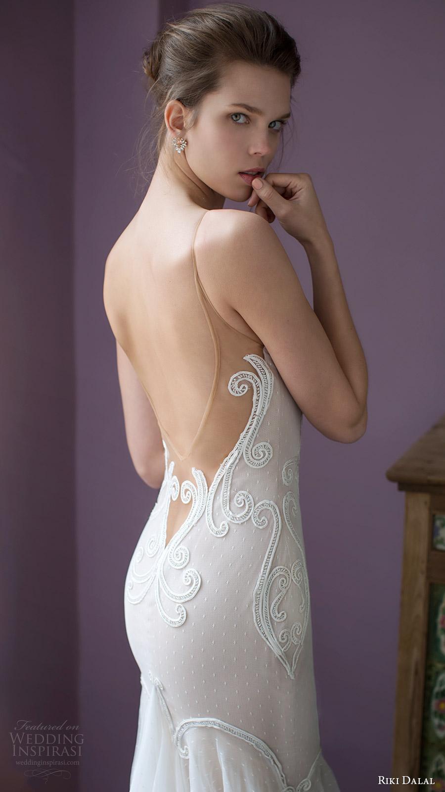 riki dalal bridal 2016 sleeveless deep sweetheart illusion straps mermaid fit flare wedding dress (1807) off white zbv elegant low back