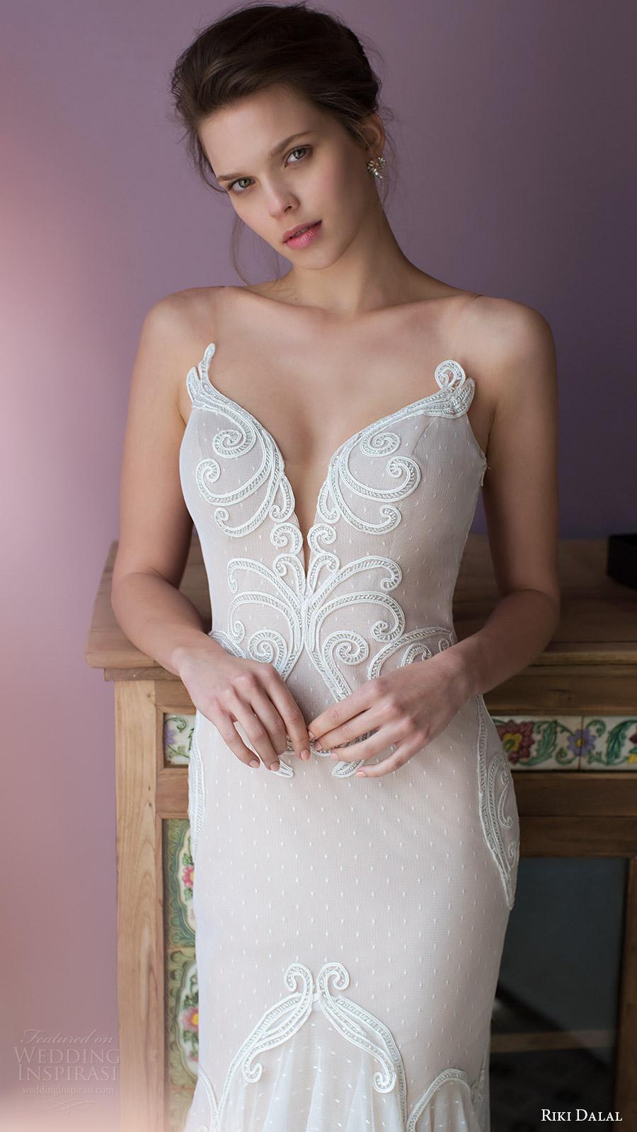 riki dalal bridal 2016 sleeveless deep sweetheart illusion straps mermaid fit flare wedding dress (1807) off white zv elegant