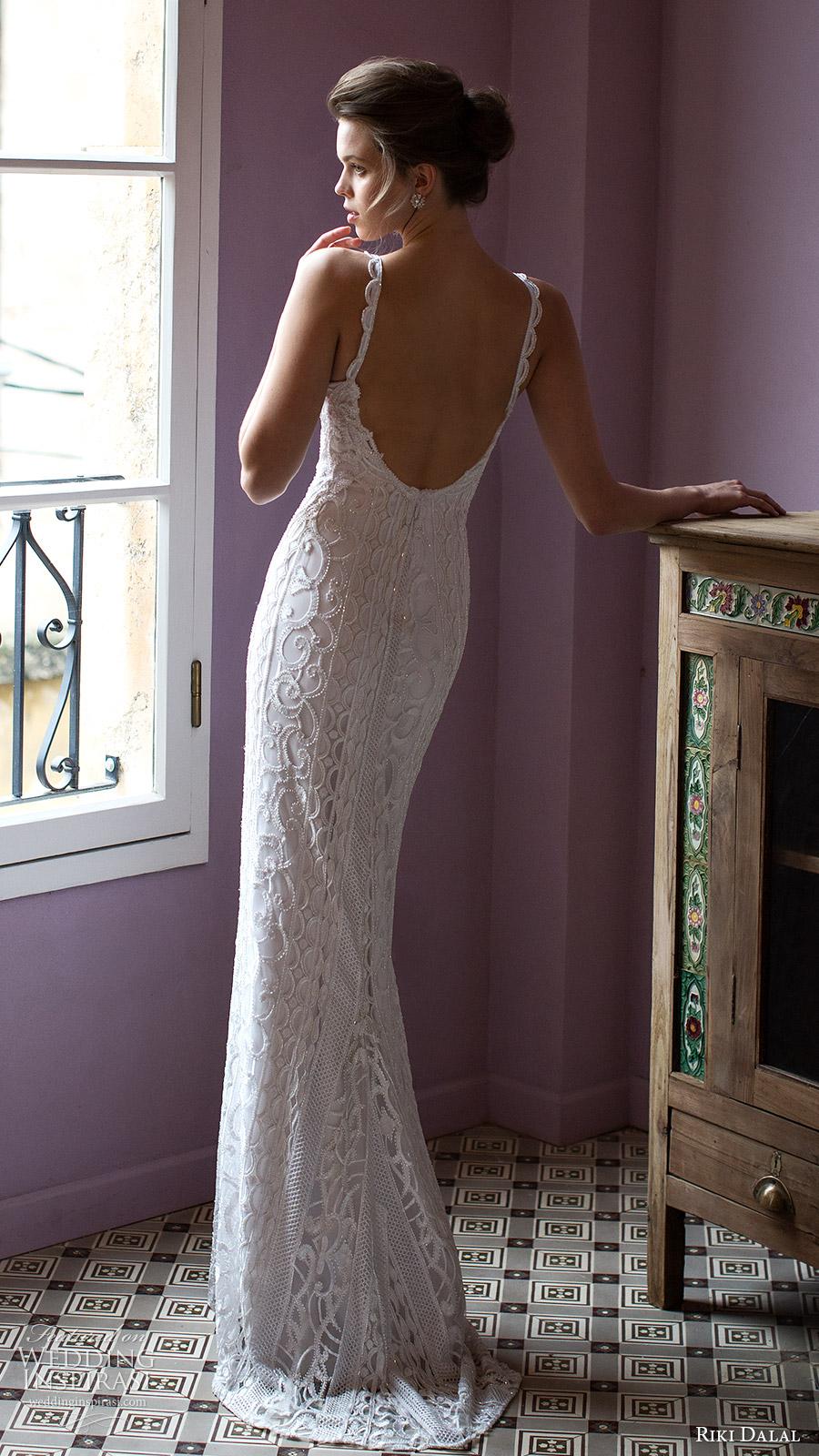 riki dalal bridal 2016 sleeveless deep sweetheart lace strap beaded sheath wedding dress (1812) bv elegant glam