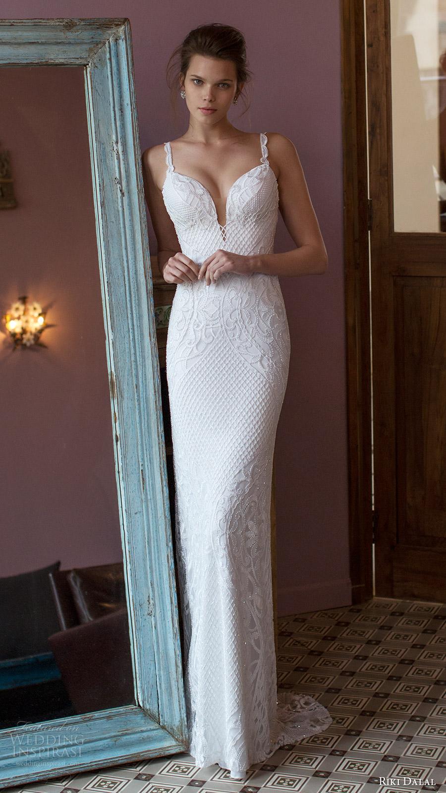 riki dalal bridal 2016 sleeveless deep sweetheart lace strap beaded sheath wedding dress (1812) mv elegant glam