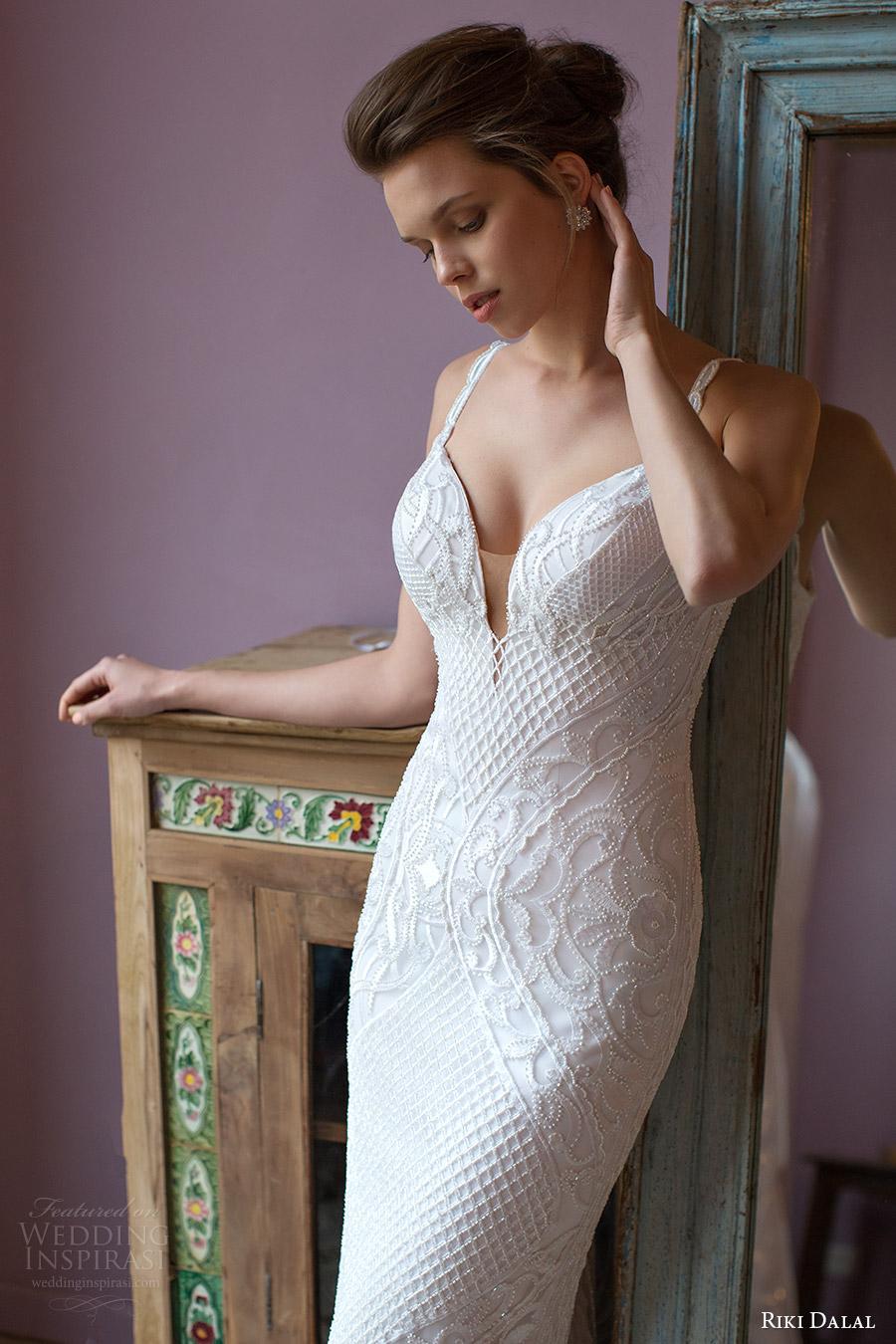 riki dalal bridal 2016 sleeveless deep sweetheart lace strap beaded sheath wedding dress (1812) zv elegant glam