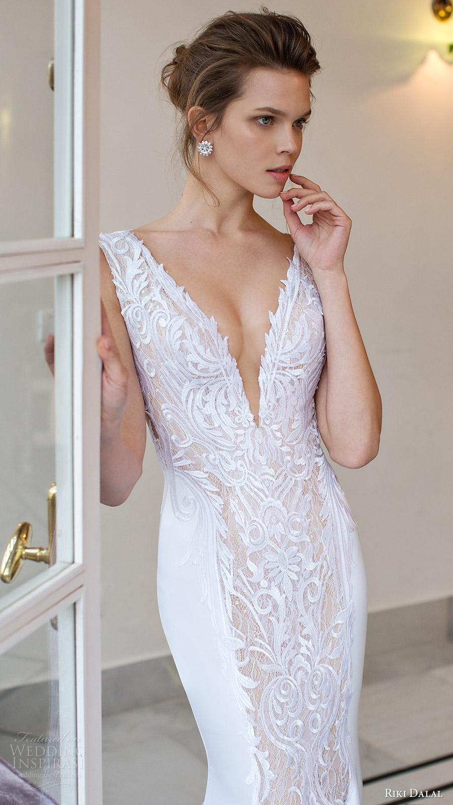 riki dalal bridal 2016 sleeveless deep vneck thick straps embroidered bodice sheath wedding dress (1813) zv elegant glam
