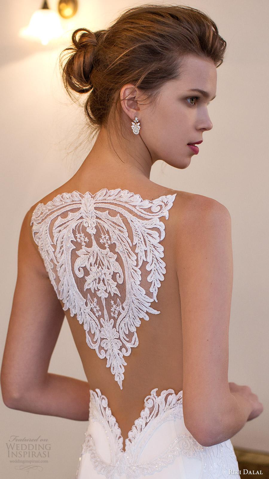 riki dalal bridal 2016 sleeveless modified deep v neck illusion jewel lace bodice sheath wedding dress (1806) zv elegant train sheer back