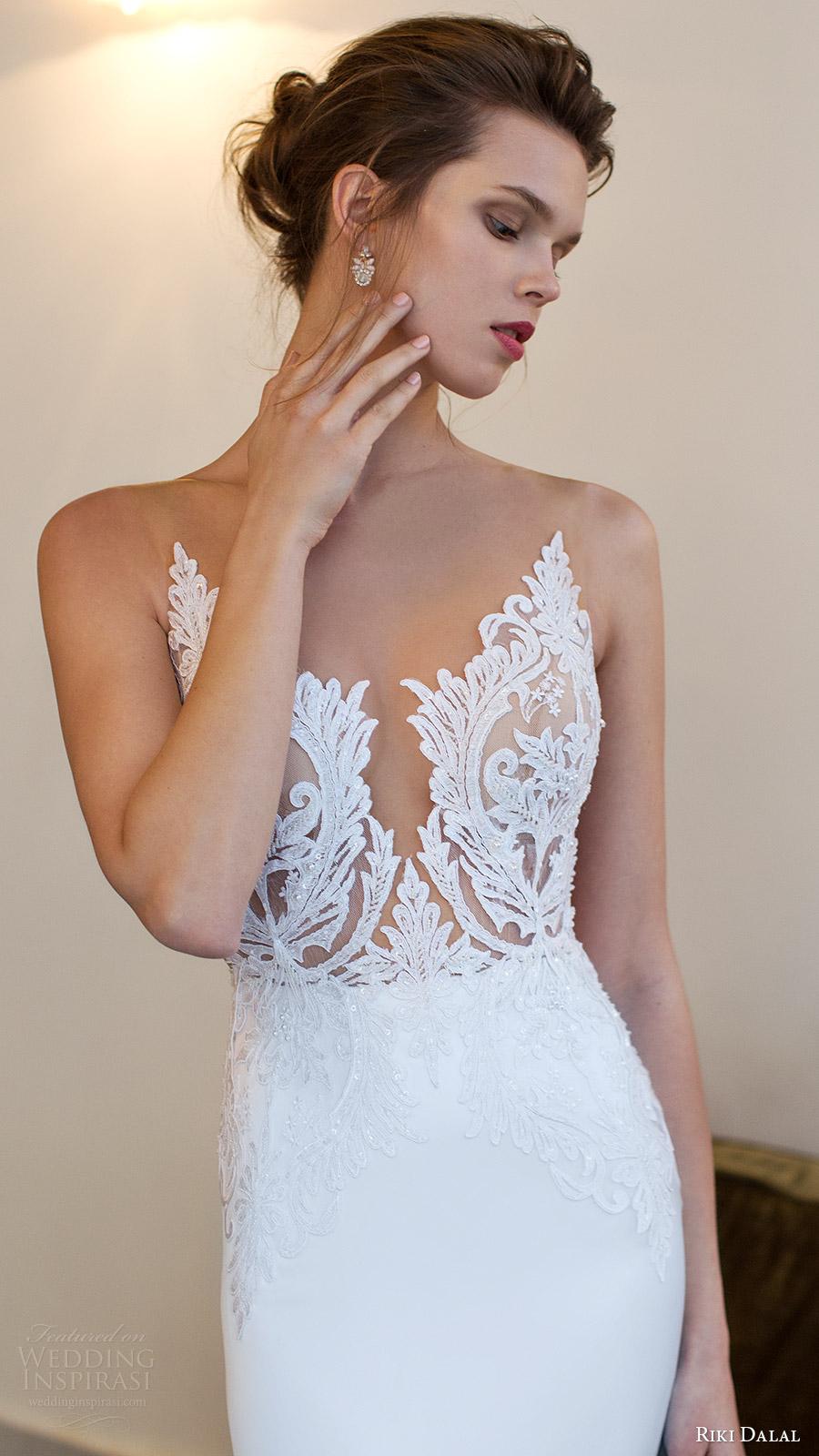 riki dalal bridal 2016 sleeveless modified deep v neck illusion jewel lace bodice sheath wedding dress (1806) zv elegant