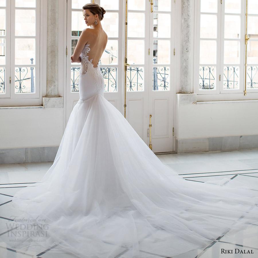 riki dalal bridal 2016 sleeveless plunging sweetheart illusion jewel sheer bodice mermaid wedding dress (1804) bv low back sexy glam long train