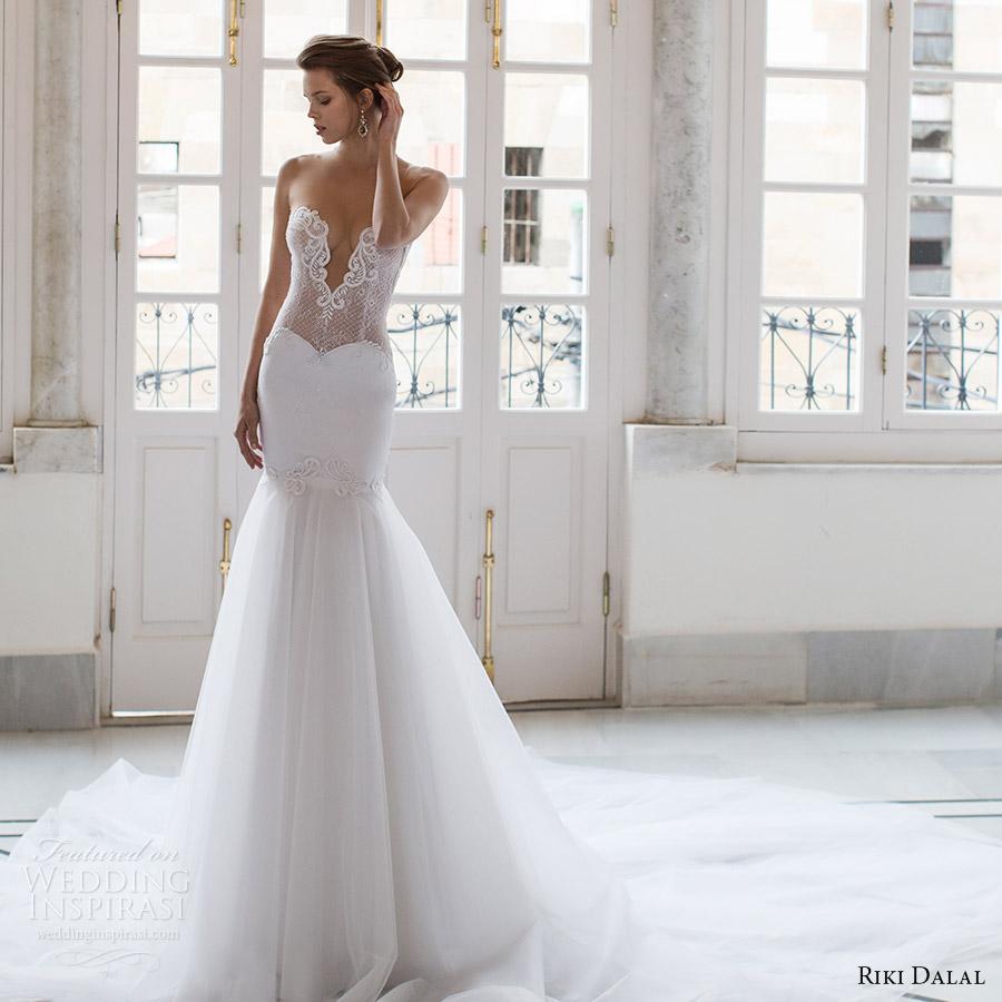 riki dalal bridal 2016 sleeveless plunging sweetheart illusion jewel sheer bodice mermaid wedding dress (1804) mv sexy glam long train