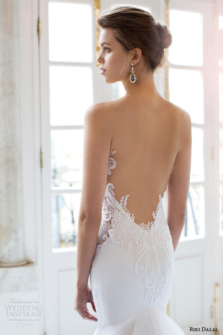riki dalal bridal 2016 sleeveless plunging sweetheart illusion jewel sheer bodice mermaid wedding dress (1804) zbv low back sexy glam long train
