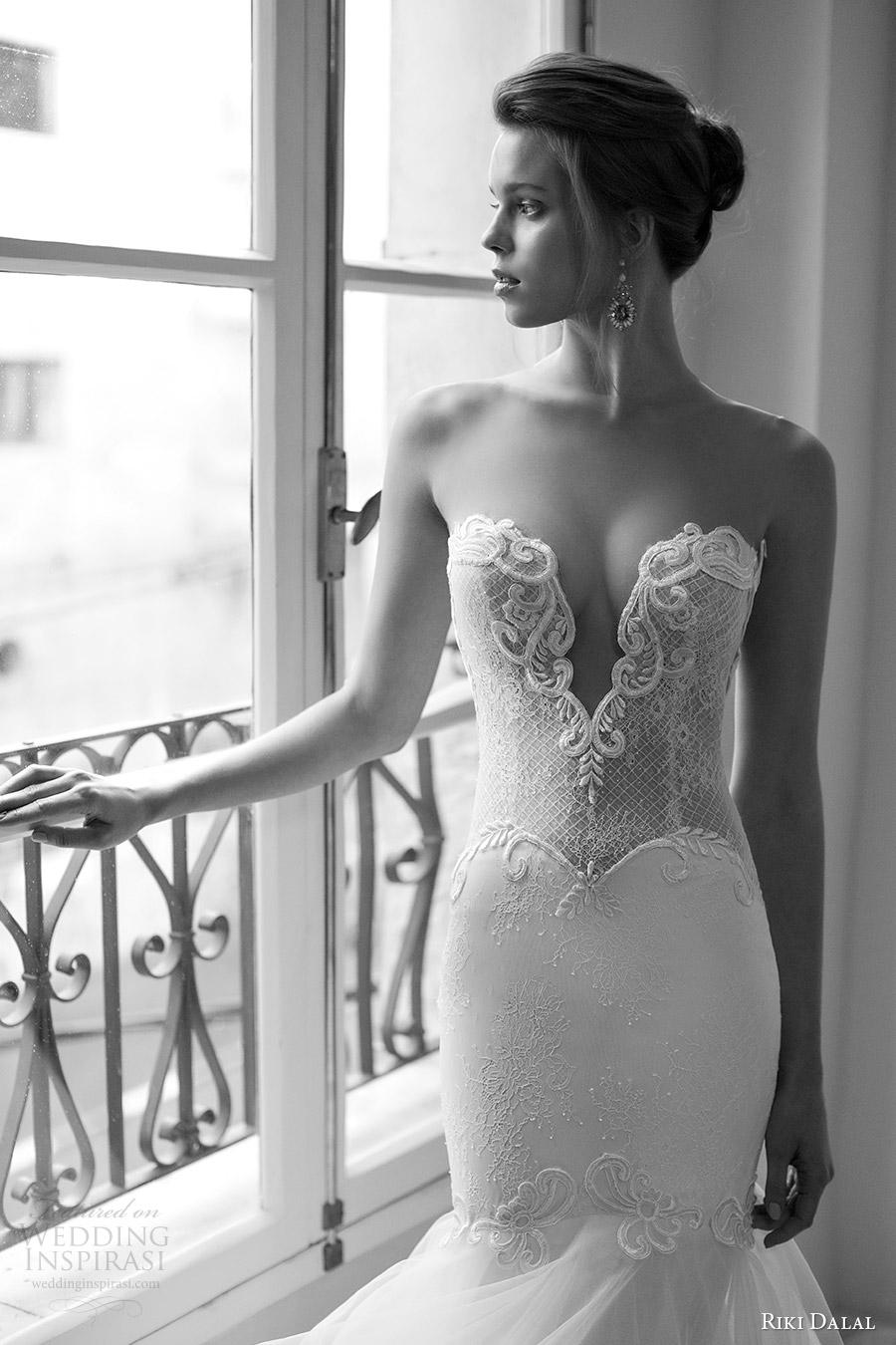 riki dalal bridal 2016 sleeveless plunging sweetheart illusion jewel sheer bodice mermaid wedding dress (1804) zv sexy glam