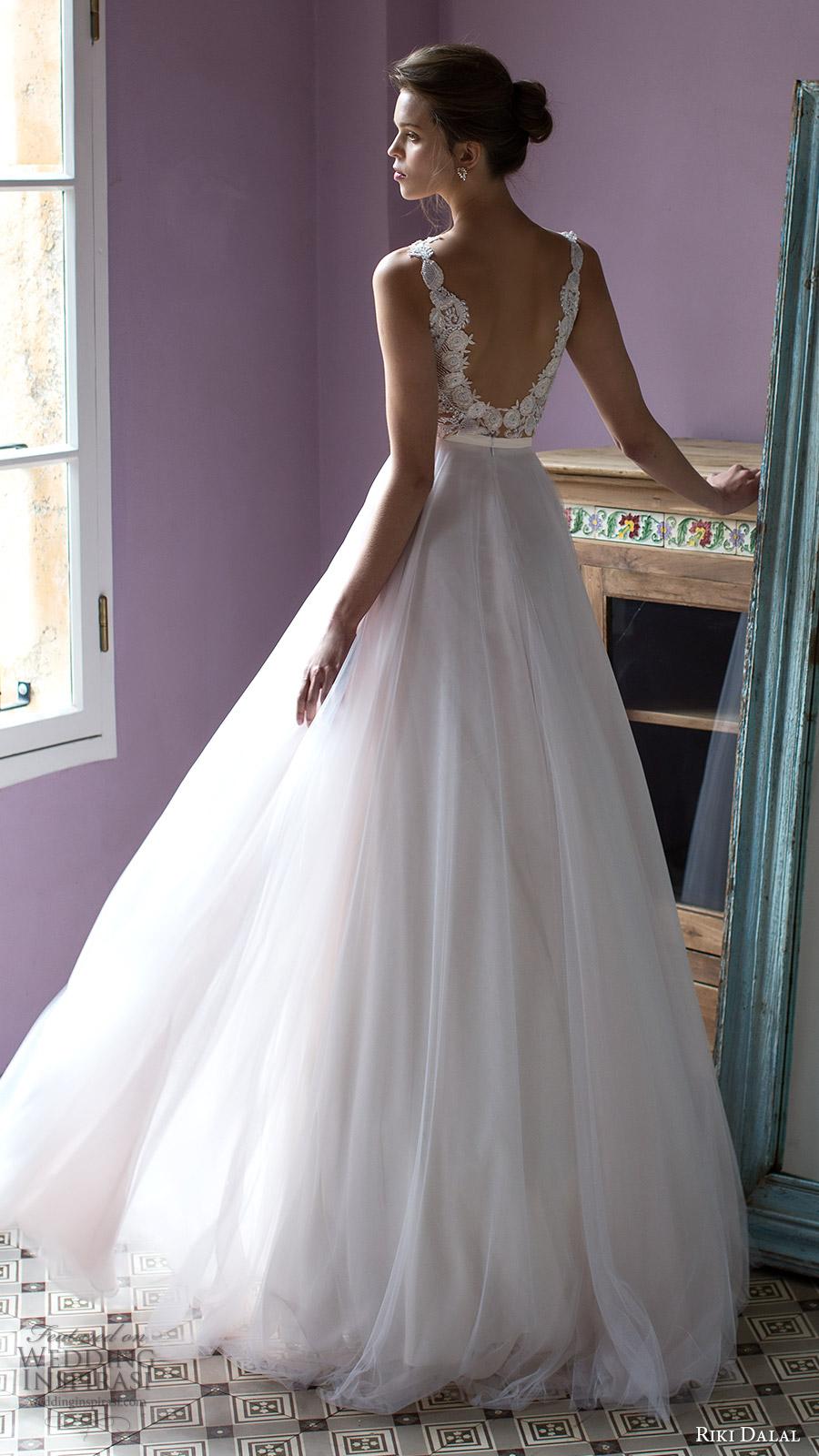 riki dalal bridal 2016 sleeveless plunging sweetheart lace bodice a line wedding dress (1805) bv sexy romantic vback