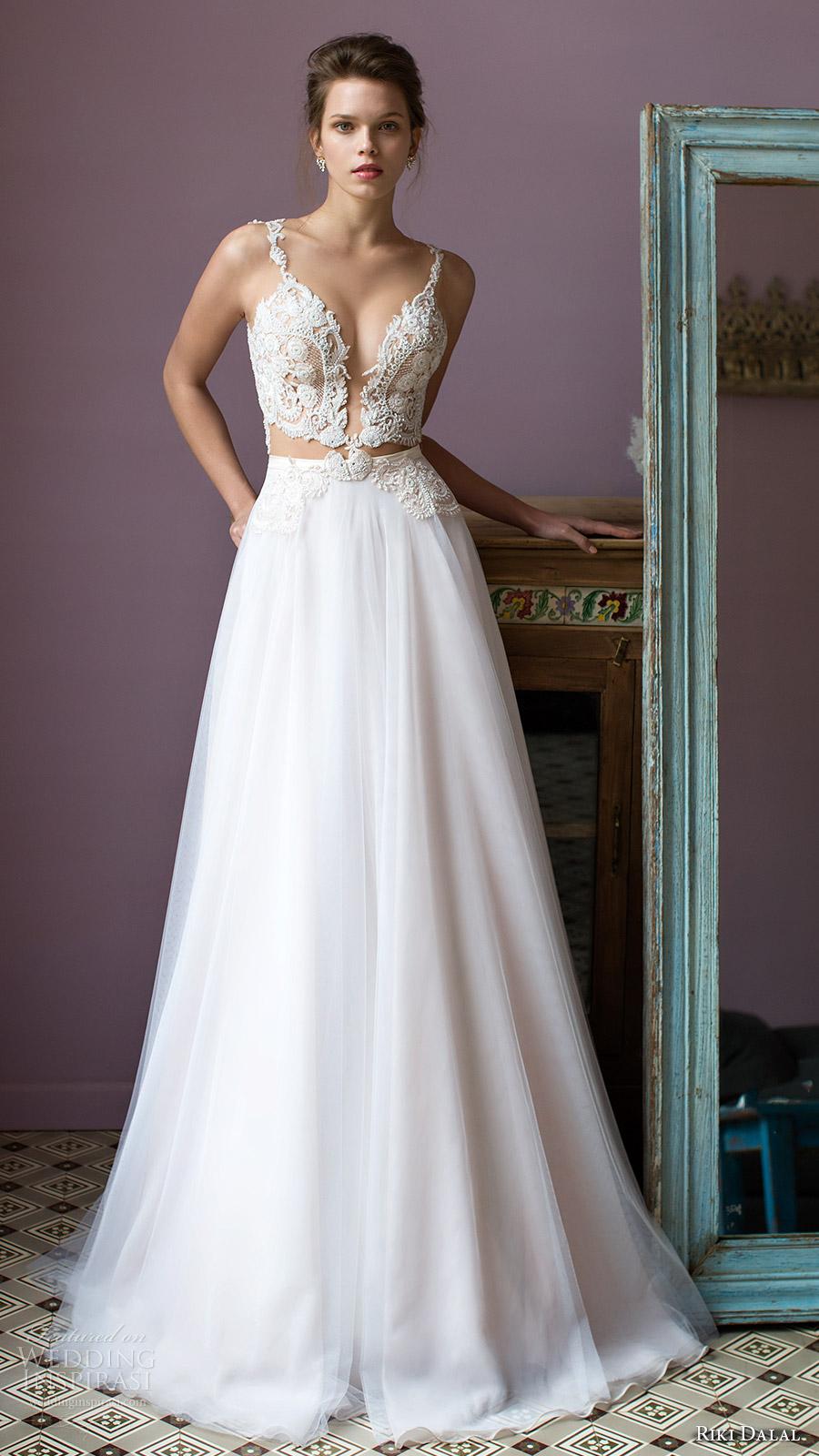 riki dalal bridal 2016 sleeveless plunging sweetheart lace bodice a line wedding dress (1805) mv sexy romantic