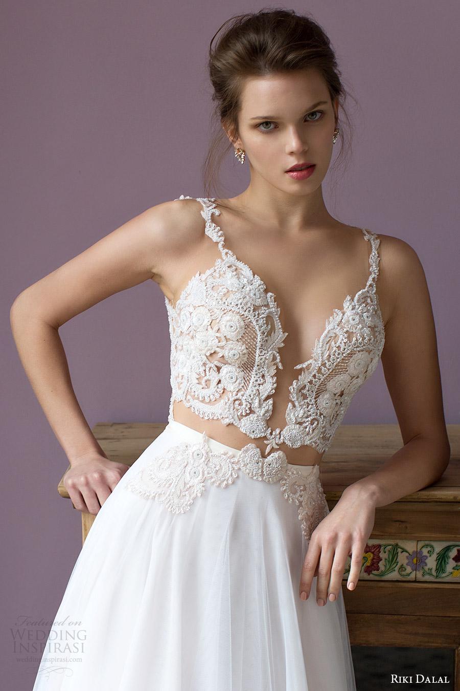 riki dalal bridal 2016 sleeveless plunging sweetheart lace bodice a line wedding dress (1805) zv sexy romantic
