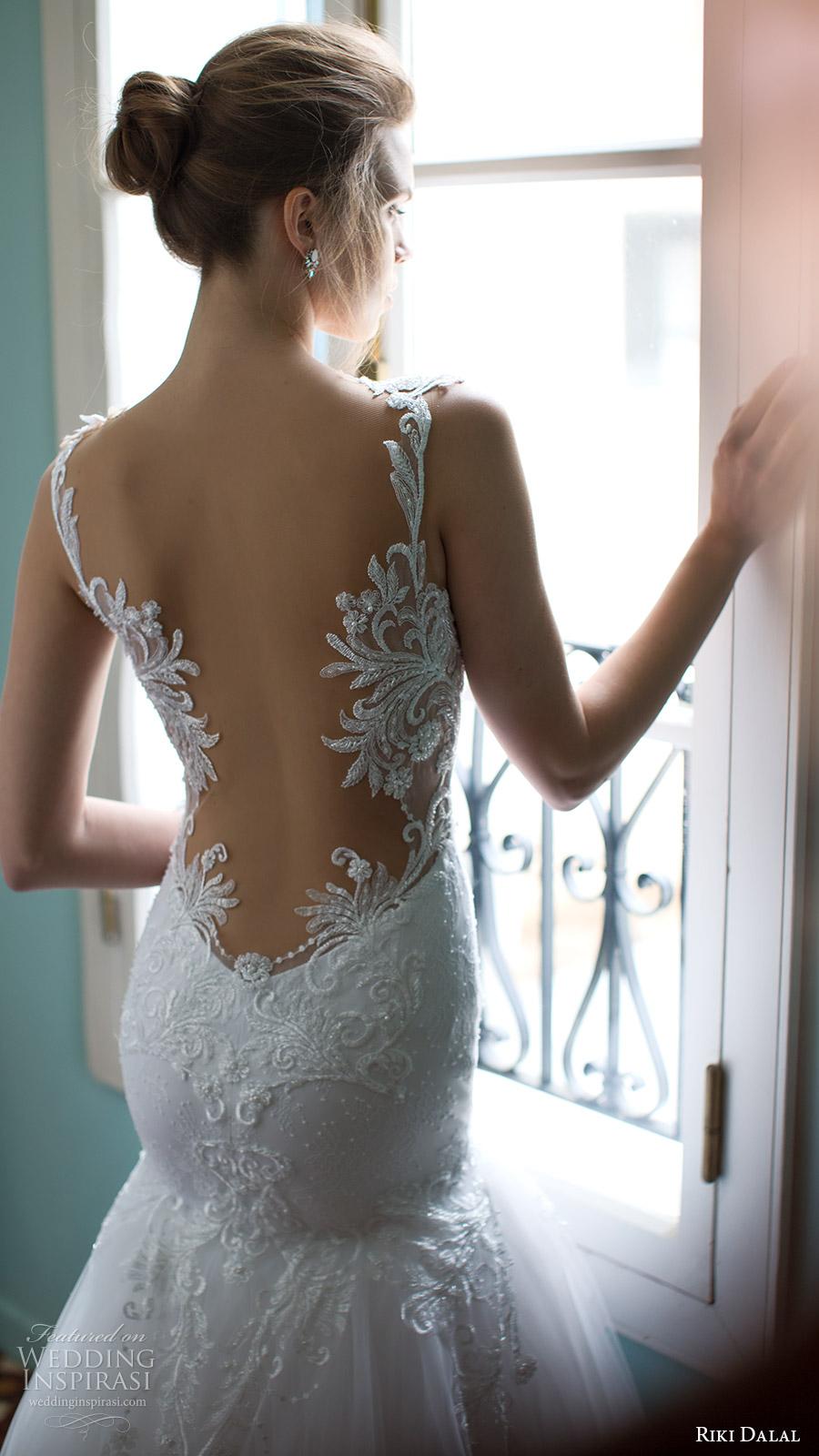 riki dalal bridal 2016 sleeveless plunging sweetheart lace straps embellished bodice mermaid wedding dress (1808) zbv elegant romantic train