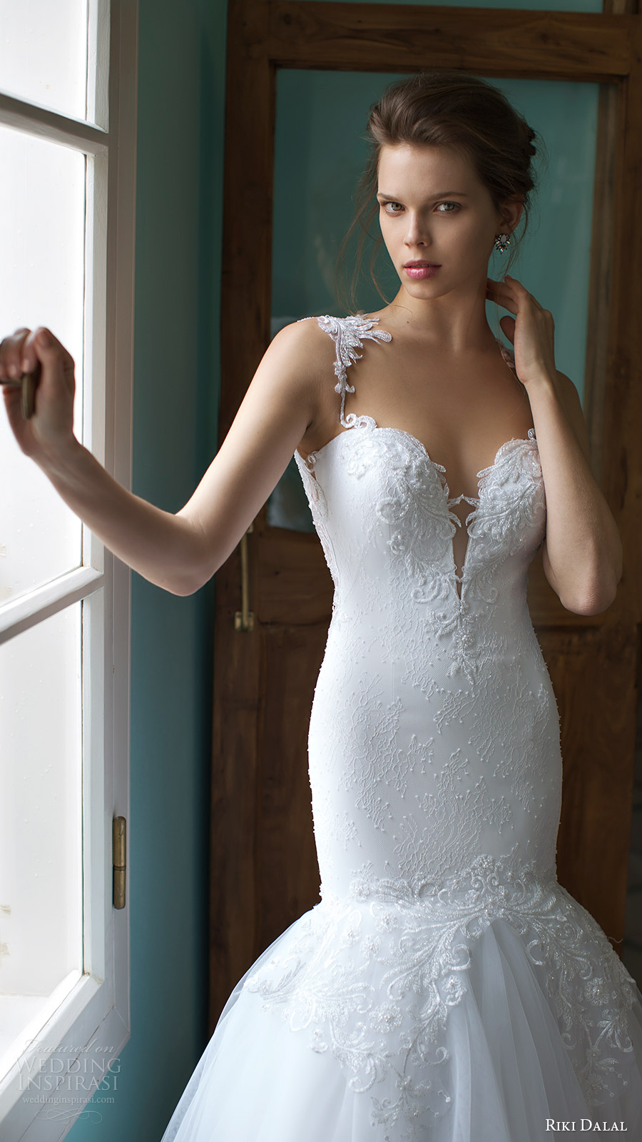 riki dalal bridal 2016 sleeveless plunging sweetheart lace straps embellished bodice mermaid wedding dress (1808) zv elegant romantic