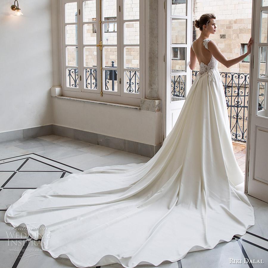 riki dalal bridal 2016 sleeveless sweetheart queen anne neckline beaded bodice a line wedding dress (1803) bv low back elegant long train