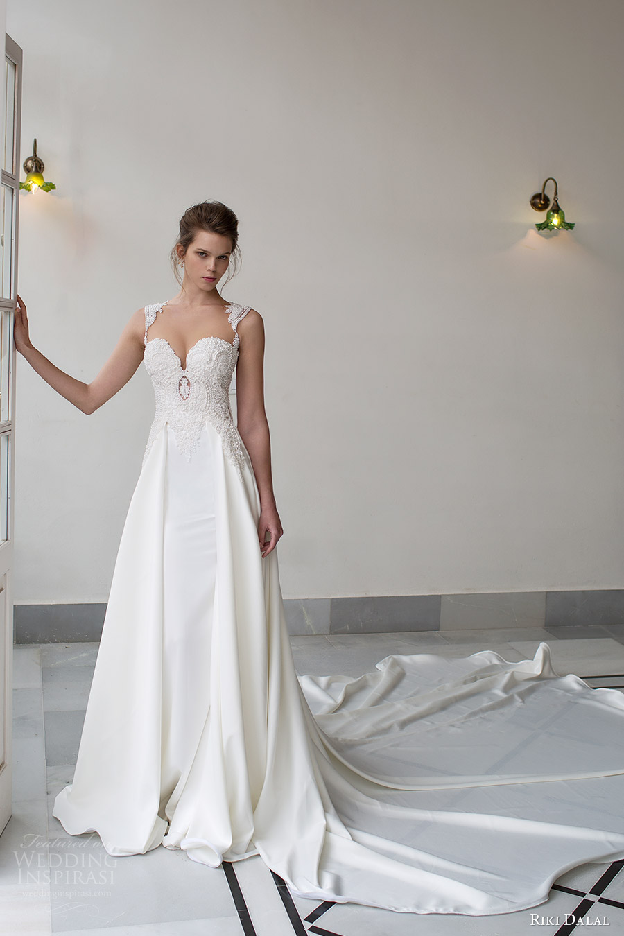 riki dalal bridal 2016 sleeveless sweetheart queen anne neckline beaded bodice a line wedding dress (1803) mv elegant long train