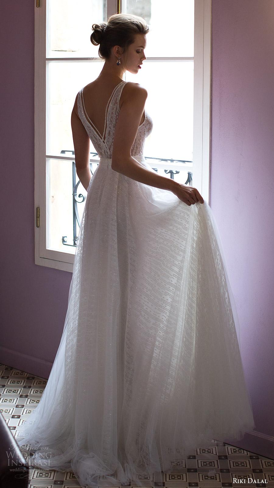 riki dalal bridal 2016 sleeveless v neck strap beaded bodice a line wedding dress (1809) bv romantic vback