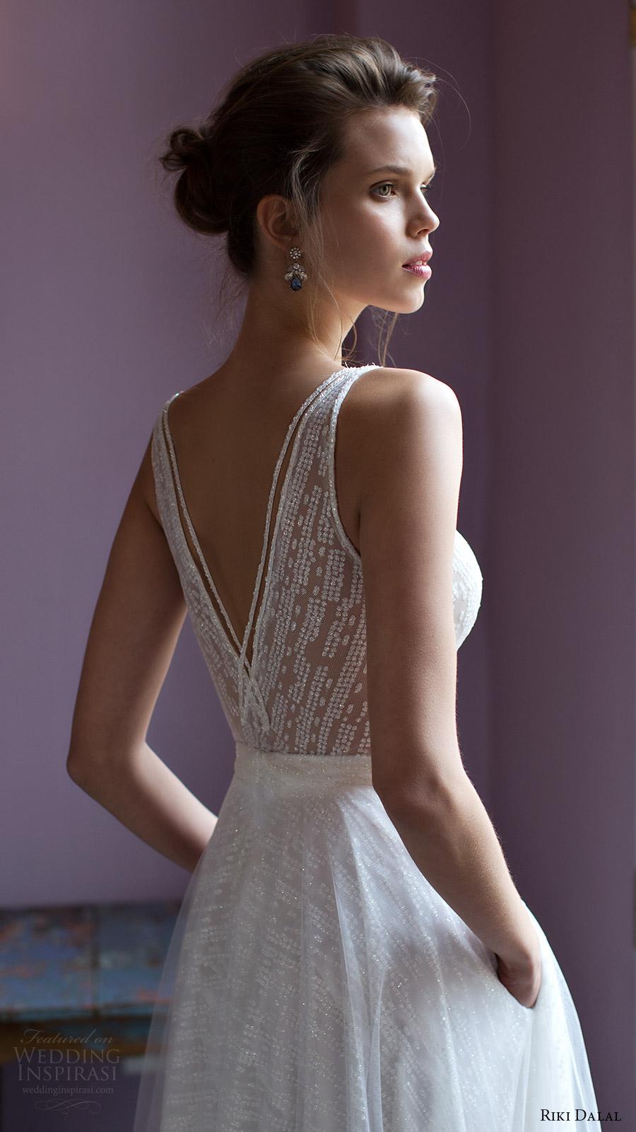 riki dalal bridal 2016 sleeveless v neck strap beaded bodice a line wedding dress (1809) zbv romantic vback
