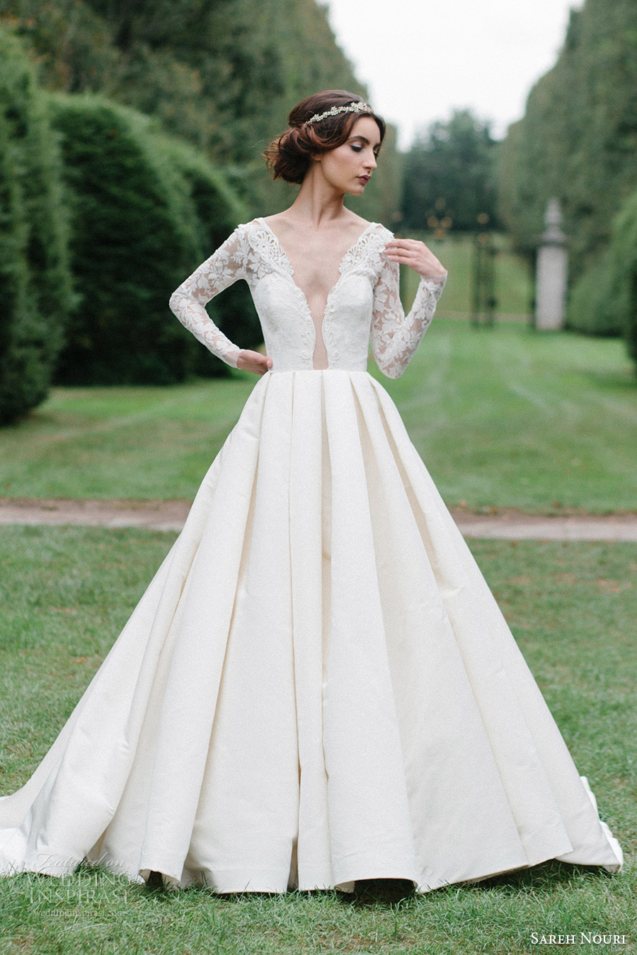 sareh nouri bridal fall 2016 long sleeve deep vneck aline ball gown wedding dress (laylee) mv romantic elegant