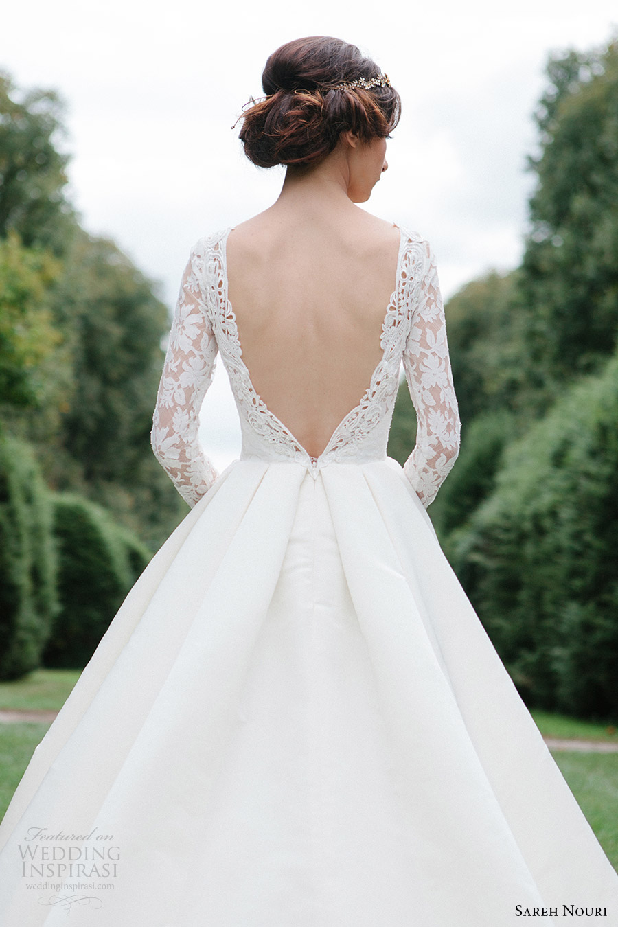 sareh nouri bridal fall 2016 long sleeve deep vneck aline ball gown wedding dress (laylee) zbv plunging back train romantic elegant